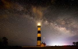 Starry, sky, lighthouse, night