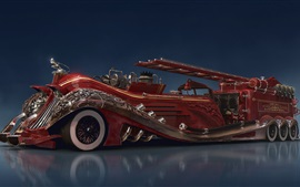 Preview wallpaper Steampunk car concept, red fire truck
