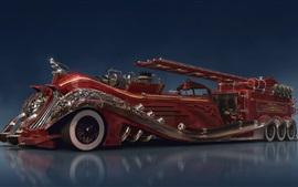Steampunk car concept, red fire truck