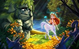Monstro de pedra, menina de cabelo vermelho, cavalo, coelho, arte de fantasia