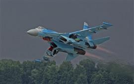 Aviões de combate Flanker Su-27, decolar