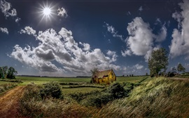 Summer, fields, grass, house, clouds