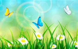 Preview wallpaper Summer, grass, flowers, butterfly, art picture