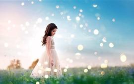 Preview wallpaper Summer, little girl, skirt, grass, glare