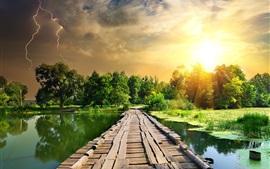 Verão, rio, lentilha, ponte de madeira, relâmpago
