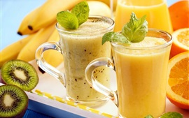 Preview wallpaper Summer smoothies, fruit drinks, glass cups