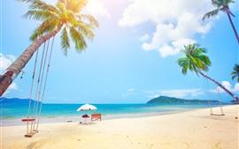 壁紙のプレビュー 夏、熱帯、ヤシの木、ビーチ、海