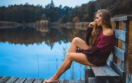 Preview wallpaper Sweater girl, legs, bench, pond