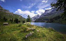 Preview wallpaper Switzerland, Engstlensee nature lake, mountains