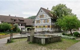Switzerland, houses, trees, city
