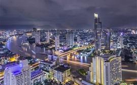 Таиланд, Бангкок, красивая ночь в городе, река, мост, огни, небоскребы
