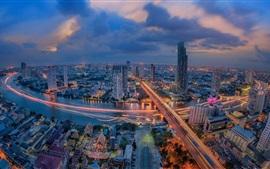 Таиланд, Бангкок, городская ночь, небоскребы, дороги, огни