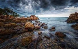 Preview wallpaper Thailand, Chanthaburi, stones, trees, sea, clouds