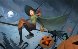 Preview wallpaper The Banner Saga, witch, full moon, pumpkin, Halloween, night