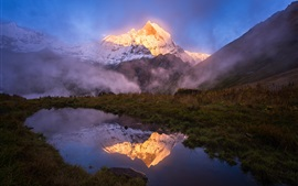The Himalayas, lake, grass, fog
