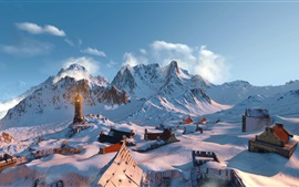 Preview wallpaper The Witcher 3: Wild Hunt, mountains, snow, houses