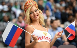 Preview wallpaper The World Cup, smile Russian girl, flag
