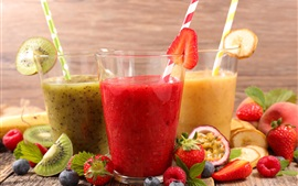 Preview wallpaper Three cups of juice, strawberry, kiwi, food