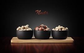 Preview wallpaper Three kinds nuts, peanuts, hazelnuts, pistachios