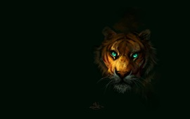 Preview wallpaper Tiger, green eyes, black background, art painting