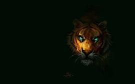 老虎,綠眼睛,黑色的背景,藝術畫