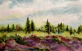 Preview wallpaper Trees, flowers, spring, watercolor painting