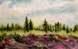 Árvores, flores, primavera, pintura em aquarela