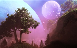 Preview wallpaper Trees, moon, colorful bubbles, creative design