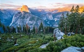 Árvores, montanhas, pedras, vista de cima