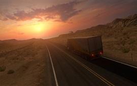Caminhão, estrada, velocidade, pôr do sol