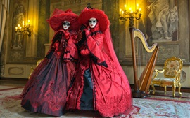 Dos chicas, maquillaje, máscara