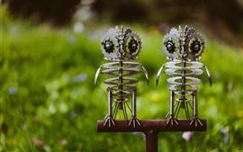 Dos búhos de metal, arte creativo