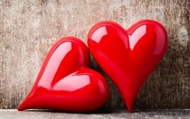 Dois corações de amor vermelho, romântico, parede
