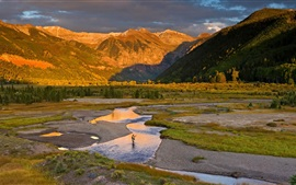 USA, Colorado, river, mountains, trees, fisherman, sunshine