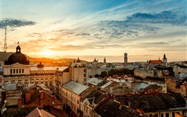 Preview wallpaper Ukraine, city, houses, morning, sunrise