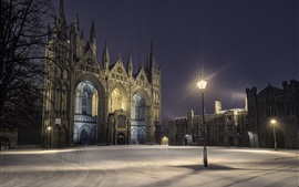 Reino unido, peterborough, cidade, noturna, lâmpada