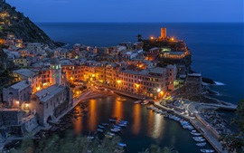 Preview wallpaper Vernazza, Italy, houses, night, lights, top view
