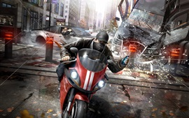 Preview wallpaper Watch Dogs, Ubisoft game, motorcycle, gun