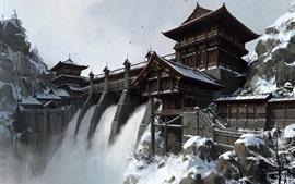 Cachoeira, barragem, China, pintura de arte