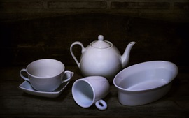 White cups, kettle, still life