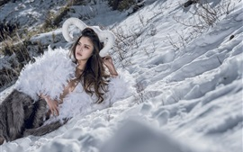 White feathers dress girl, snow, winter, art photography
