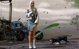 Preview wallpaper White hair fantasy girl, motorcycle, dogs