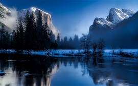 Winter, mountains, trees, snow, lake, morning, mist