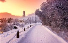 Inverno, neve, casas, árvores, estrada, cerca