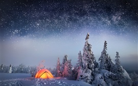 Preview wallpaper Winter, snow, night, trees, starry, tent