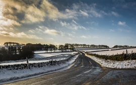Preview wallpaper Winter, snow, road, fields, countryside