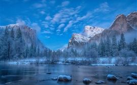 미리보기 배경 화면 겨울, 눈, 나무, 산, 강