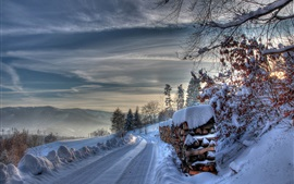 Preview wallpaper Winter, thick snow, road, trees, slope