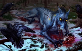 Preview wallpaper Wolf and crow, blood, art painting