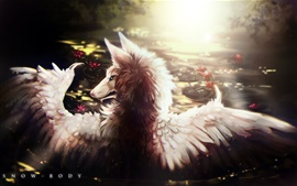 Preview wallpaper Wolf, wings, art painting